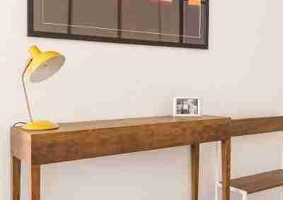Tavolo consolle in legno di rovere e panca in ferro e rovere COD. PRV0003